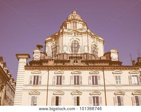 Retro Looking San Lorenzo Church In Turin