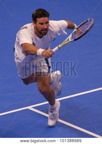 LONDON, ENGLAND. 05 DECEMBER 2009 -   Pat Rafter (AUS) competing in the season finale to the ATP Champions Tour match between Rafter and Ivanisevic, . during the AEGON Masters Tennis