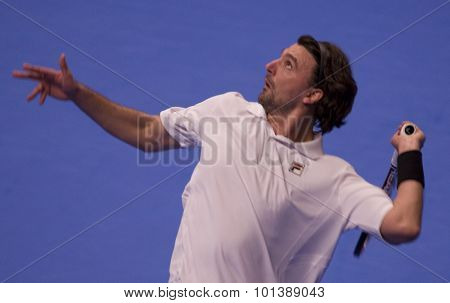 LONDON, ENGLAND. 05 DECEMBER 2009 -   Goran Ivanisevic (CRO) serving the ball while competing in the season finale to the ATP Champions Tour match between Rafter and Ivanisevic