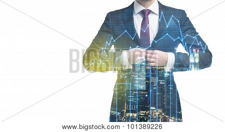 A Transparent Silhouette Of A Man In Formal Suit. Panorama Of Evening New York City. Financial Chart