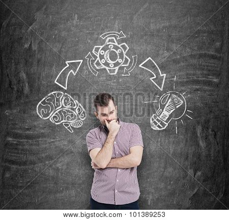 Young Man In Casual Shirt Holds His Chin And Ponders On The Best Solution Of The Problem. The Steps