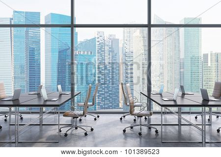 Workplaces In A Modern Panoramic Office, Singapore City View From The Windows. Open Space. Black Tab