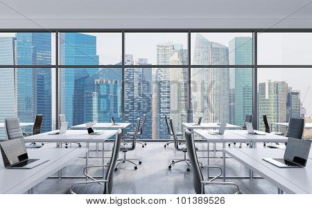 Workplaces In A Modern Panoramic Office, Singapore City View From The Windows. Open Space. White Tab