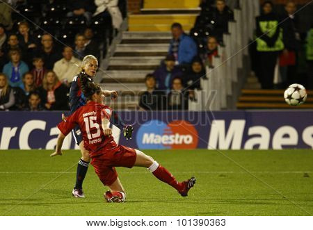 LONDON, ENGLAND. 26 MAY 2011 Lyon's Lara Dickenmann scoring the second goal during the 2011UEFA Women's Champions League final between FFC Turbine Potsdam and Olympique Lyonaise
