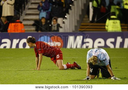 LONDON, ENGLAND. 26 MAY 2011 Potsdam's  Inka Wesely and goalkeeper Anna Felicitas Sarholz during the 2011 UEFA Women's Champions League final between FFC Turbine Potsdam and Olympique Lyonaise
