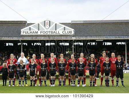 LONDON, ENGLAND. 26 MAY 2011  Potsdam players prior to the 2011UEFA Womens Champions League final between FFC Turbine Potsdam from Germany and Olympique Lyonaise from France,