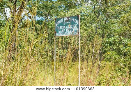 Road Sign To Game Reserve In Tanzania