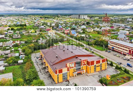 Aerial view on church and house of culture, Russia