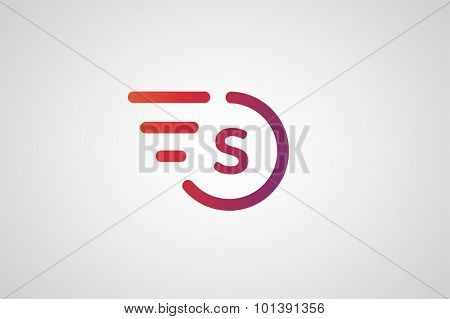 Fast line S letter circle logo. S and rings monogram. Vector S circle. Circle O and S letter design. Abstract S letter. Round rings. Ring circle symbol. Thin line circle.  Transport car circle icon