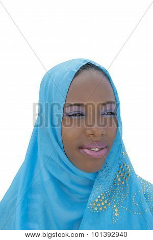 Young Afro beauty wearing a blue headscarf, isolated