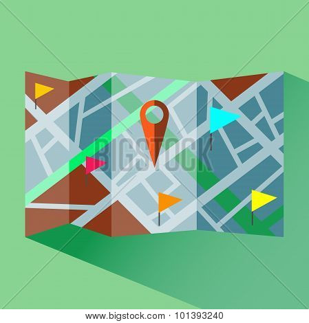 Colorful Map With Map Pointers Digital Vector Icon.