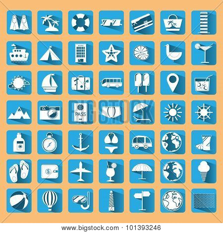 Blue Summer Holiday Icon Set.