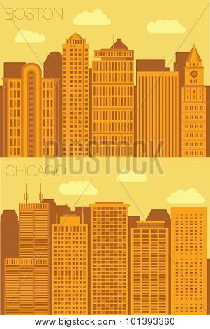 Set 2 flat background city Boston and Chicago
