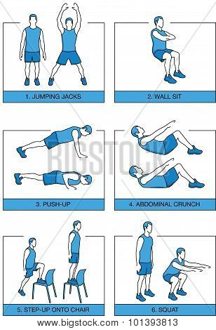 Set sport exercises 7 minutes
