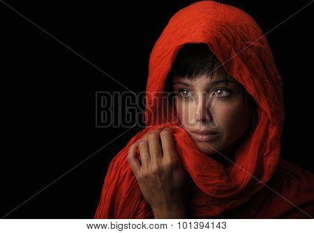 Image of a Beautiful latino Woman on Black