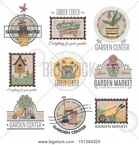 Garden center logo set