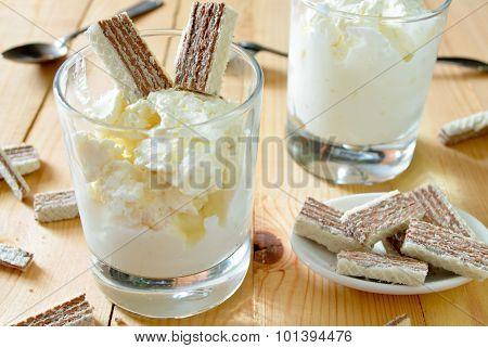 thick Greek yoghurt with chocolate waffles