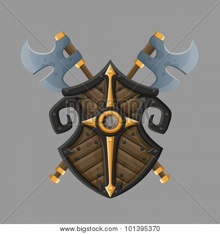 Cartoon black shield. Vector illustration