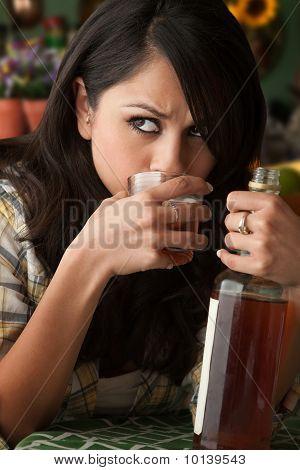 Alcoholic Latina Woman