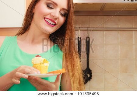 Woman Holding Delicious Sweet Cake. Gluttony.