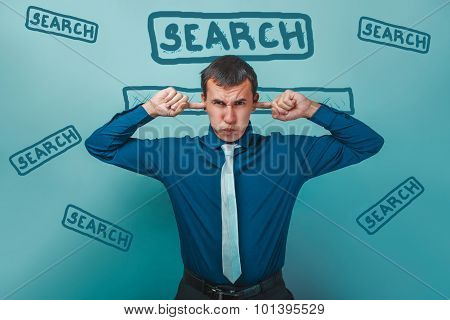man male businessman closed his ears with his hands fingers web