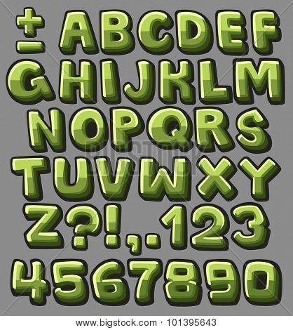 Green cartoon alphabet. Vector illustration