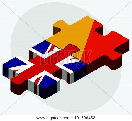 United Kingdom And Bhutan Flags
