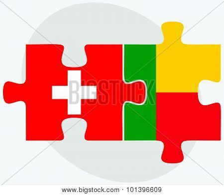 Switzerland And Benin Flags