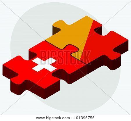 Switzerland And Bhutan Flags