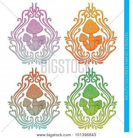 Mushroom Abstract Multicolored