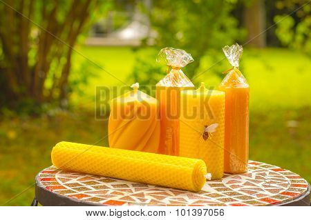 Bee Wax Natural Candles With Natural Green Background