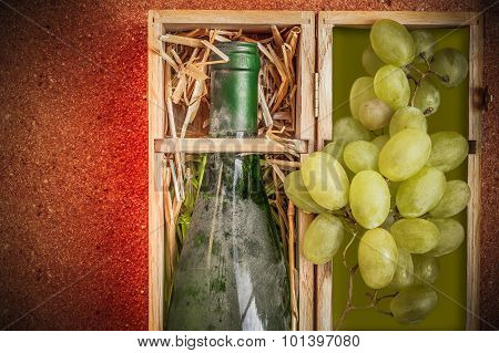 High Class Luxury Archive Dusty Wine In A Wooden Box With Grapes