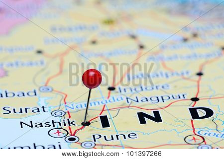 Nashik pinned on a map of Asia