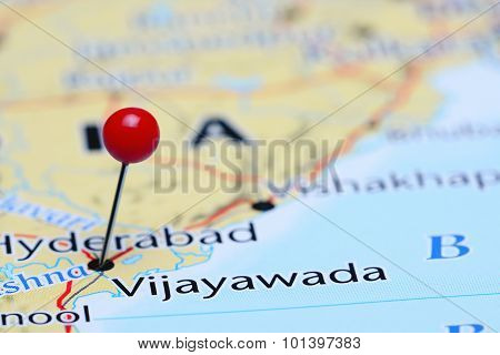 Vijayawada pinned on a map of Asia