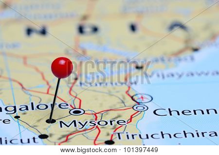 Mysore pinned on a map of Asia