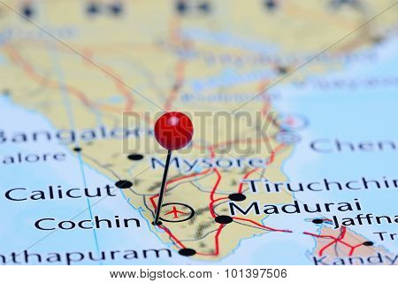 Cochin pinned on a map of Asia