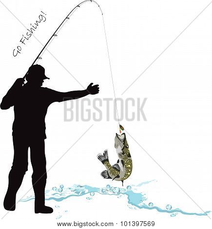 Fishing, Fisherman And Pike
