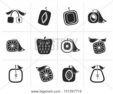 Black Abstract square fruit icons