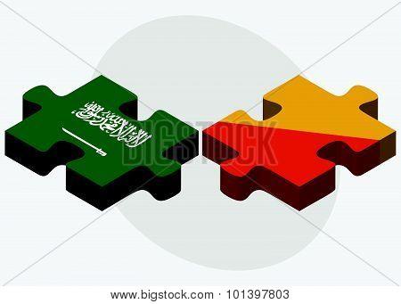 Saudi Arabia And Bhutan Flags