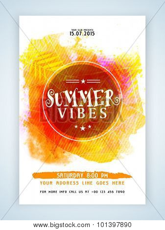 Creative colorful flyer, template or banner design with date and time details for Summer Vibes.