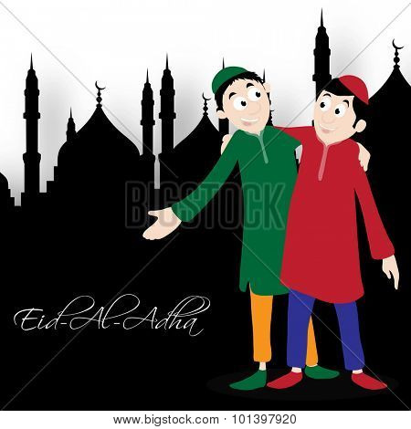 Happy Islamic men hugging and giving wishes to each other in front of mosque for Muslim Community, Festival of Sacrifice, Eid-Al-Adha celebration.