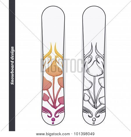 Snowboard Design Abstract Mushroom Five