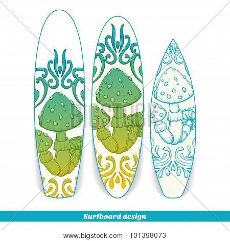 Surfboard Design Abstract Mushroom One