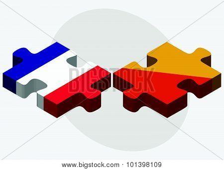 France And Bhutan Flags