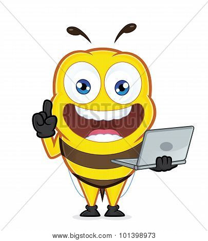 Bee holding a laptop