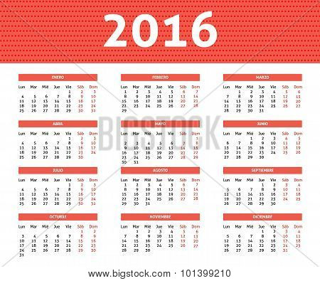 2016 Year Caledar In Spanis In Light Red Color