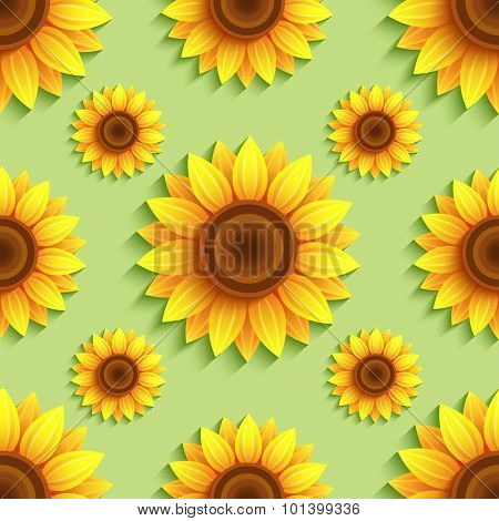 Background Seamless Pattern With Sunflowers