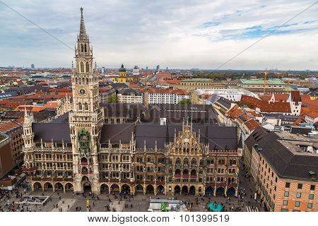 Aerial View On Marienplatz Town Hall