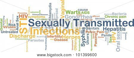 Background concept wordcloud illustration of sexually transmitted infections STI