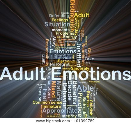 Background concept wordcloud illustration of adult emotions glowing light